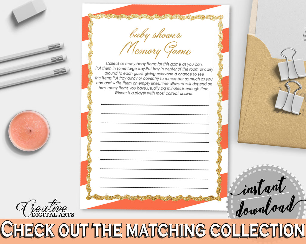 Baby Shower MEMORY game with orange stripes theme printable, baby shower glitter gold, digital file jpg pdf, instant download - bs003