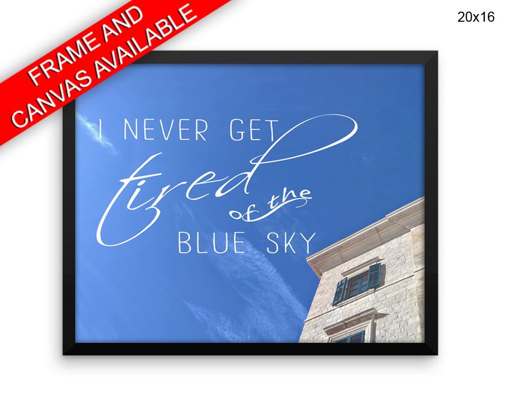 Blue Sky Print, Beautiful Wall Art with Frame and Canvas options available Photography Decor
