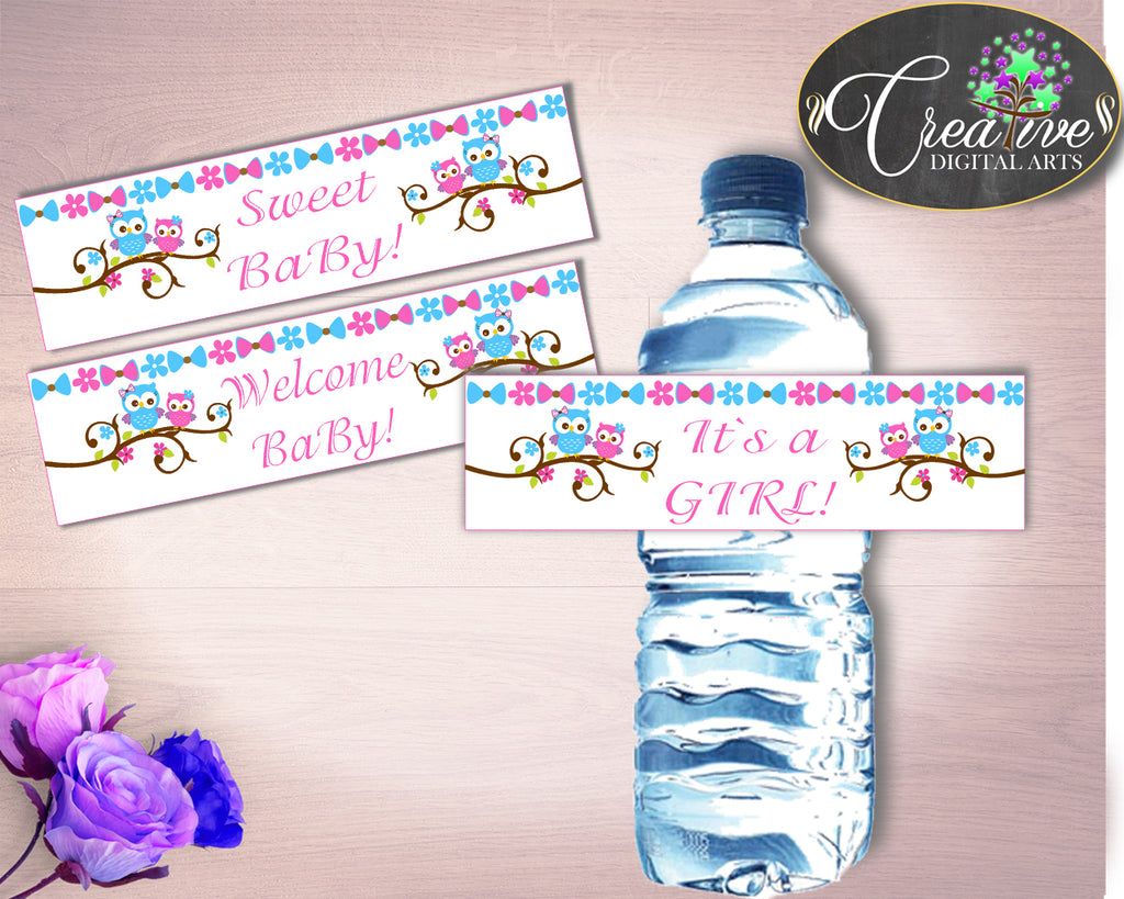 Bottle Labels Baby Shower Bottle Labels Owl Baby Shower Bottle Labels Baby Shower Owl Bottle Labels Pink Blue pdf jpg digital print owt01