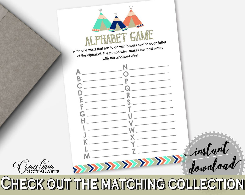 Alphabet Game Baby Shower Alphabet Game Tribal Teepee Baby Shower Alphabet Game Baby Shower Tribal Teepee Alphabet Game Green Navy - KS6AW - Digital Product