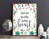 Wall Art Start Each Day With A Grateful Heart Digital Print Start Each Day With A Grateful Heart Poster Art Start Each Day With A Grateful - Digital Download