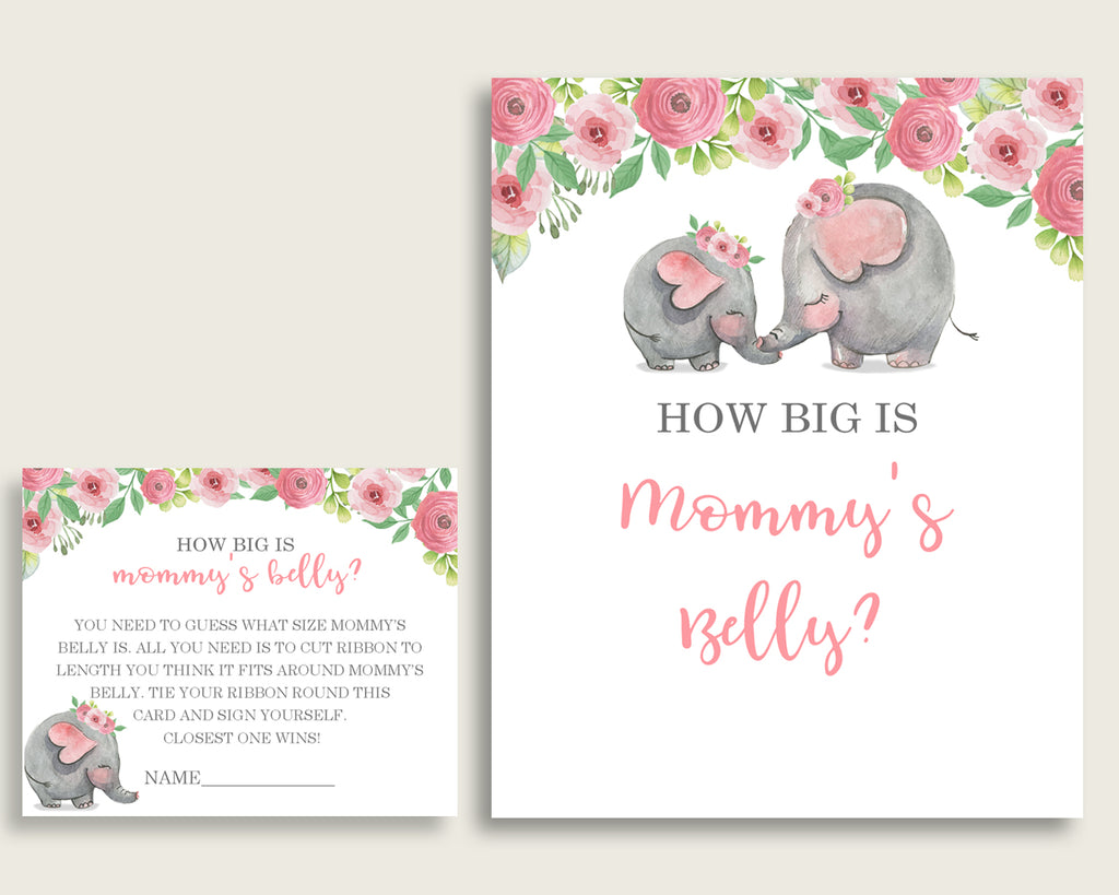 Pink Grey How Big Is Mommy's Belly Game, Pink Elephant Baby Shower Girl, Guess Mommys Belly Size, Mommy Tummy Game, Instant Download, ep001