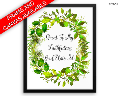 Faithfulness Print, Beautiful Wall Art with Frame and Canvas options available Floral Wreath Decor