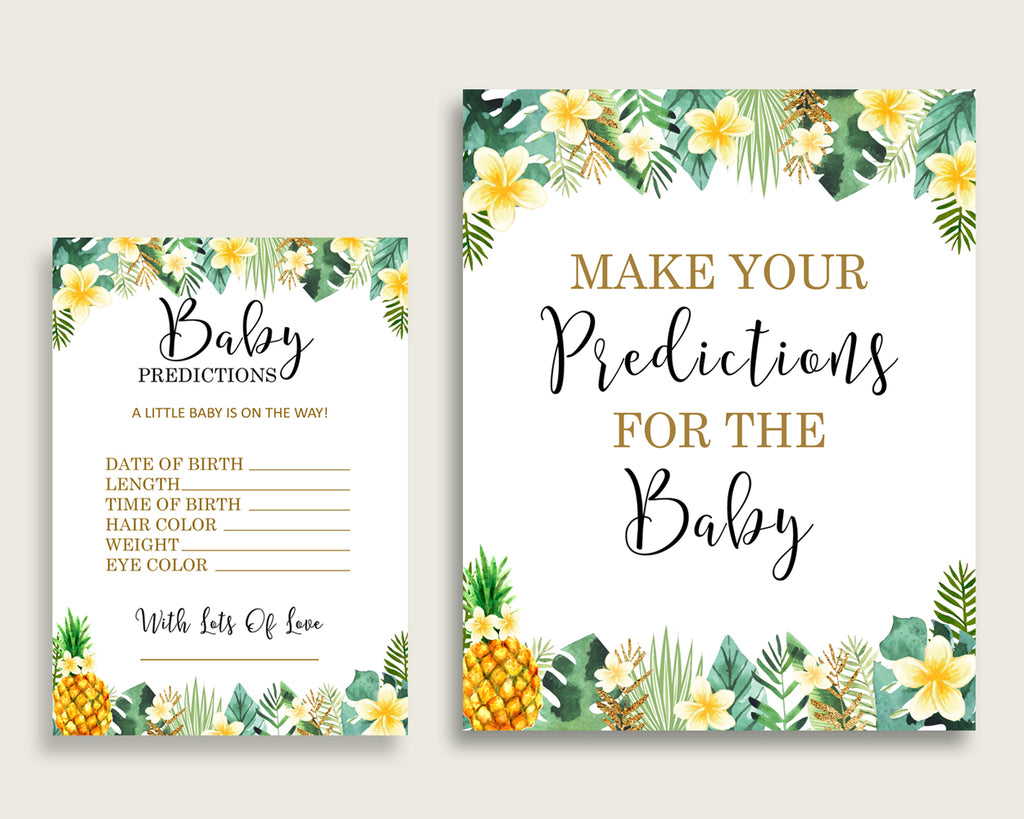 Tropical Baby Shower Prediction Cards & Sign Printable, Green Yellow Baby Prediction Game Gender Neutral, Instant Download, Popular 4N0VK