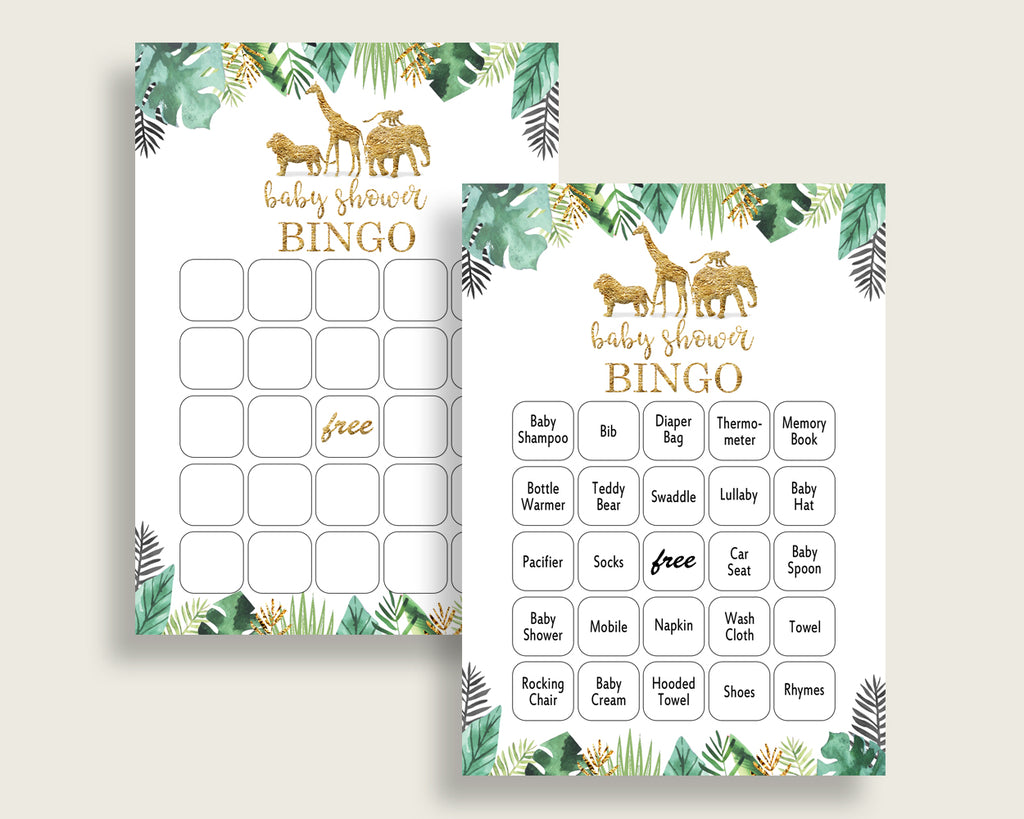 Jungle Baby Shower Bingo Cards Printable, Gold Green Baby Shower Gender Neutral, 60 Prefilled Bingo Game Cards, Tropical Animals EJRED