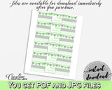 Baby shower boy girl NAPKIN RINGS printable with chevron green theme, digital file Jpg Pdf, instant download - cgr01