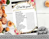 Black And Gold Flower Bouquet Black Stripes Bridal Shower Theme: Find The Guest Game - shower icebreaker, party organizing, prints - QMK20 - Digital Product