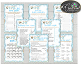Blue Baby Shower games package bundle printable with boy clotheline, 8 games pack - Instant Download - bc001