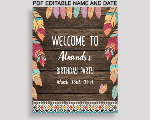 Wild One Birthday Welcome Sign Printable, Brown Green Birthday Party Large Sign, Editable Welcome Sign Boy Girl, LQES5