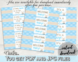 Little Lamb Baby Shower WATER BOTTLE LABELS boy shower blue printable sheep theme, digital files, Pdf Jpg, instant download - fa001