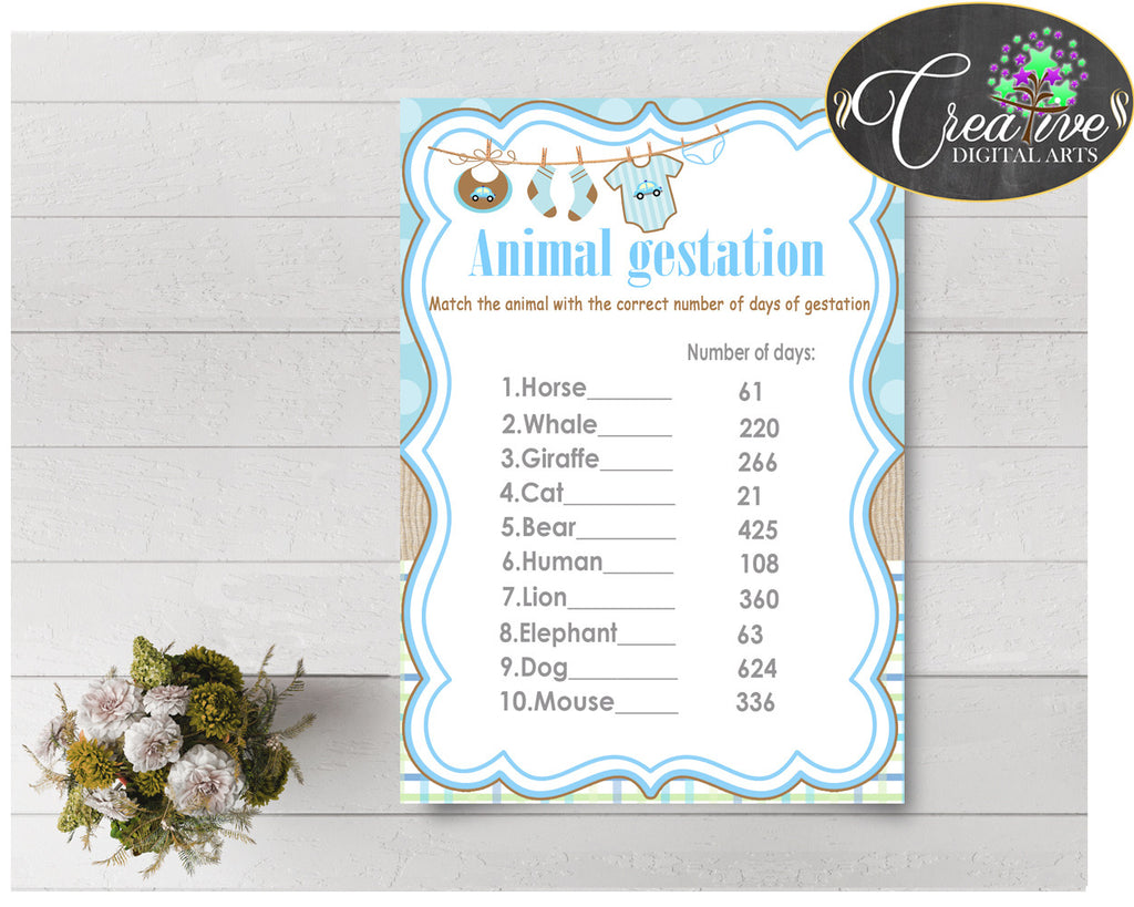 Baby Shower ANIMAL GESTATION game with boy clothesline and blue color theme printable, digital files, Jpg and Pdf, instant download - bc001