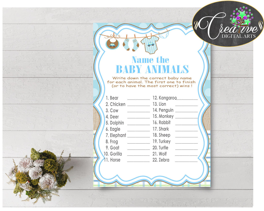 NAME The BABY ANIMALS baby shower game with boy clothes and blue color theme printable, Jpg Pdf, instant download - bc001