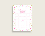 Twinkle Star Baby Shower Bingo Cards Printable, Pink Gold Baby Shower Girl, 60 Prefilled Bingo Game Cards, Cute Stars Most Popular bsg01