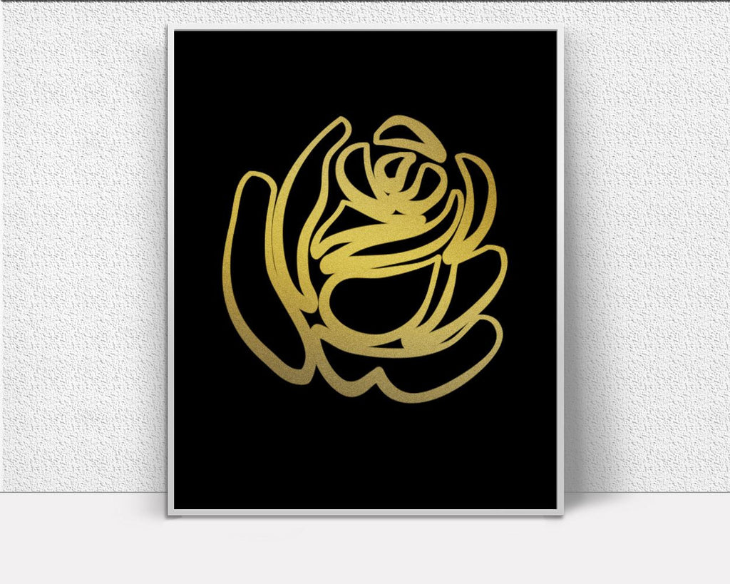 Wall Art Rose Digital Print Golden Poster Art Rose Wall Art Print Golden Fine Art Golden Fine Print Rose Wall Decor Rose Scandi Art Modern - Digital Download