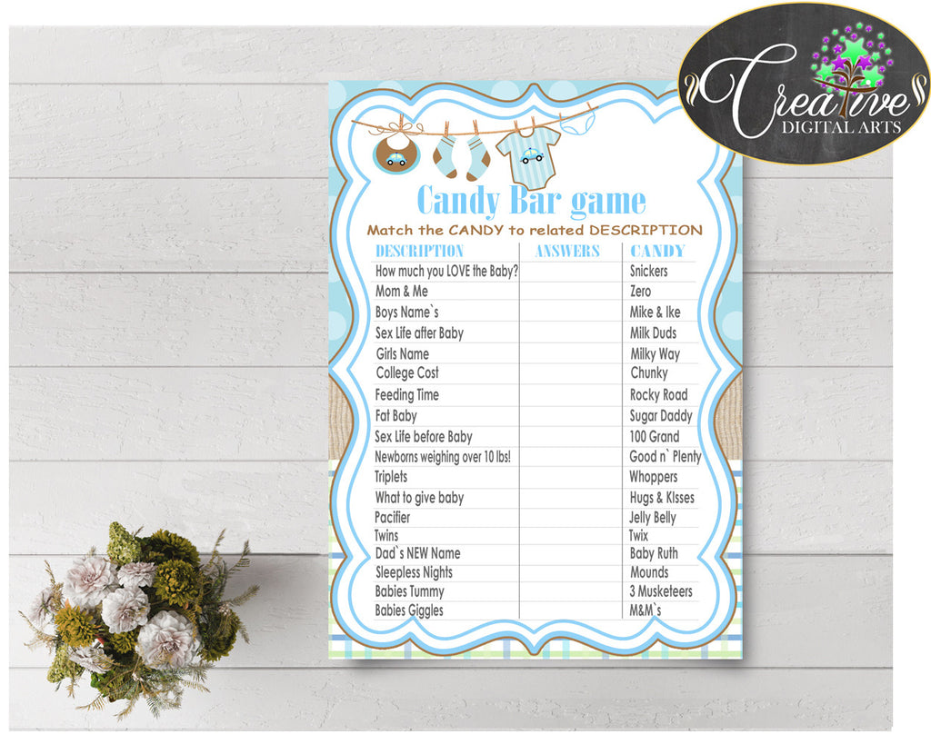 CANDY BAR baby shower game with blue boy clothes and blue color theme printable, digital files, instant download - bc001