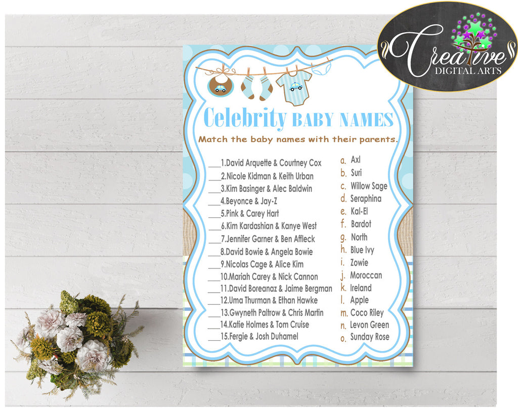 CELEBRITY BABY NAMES baby shower game with boy cloth and blue color theme, digital files, Jpg Pdf, instant download - bc001