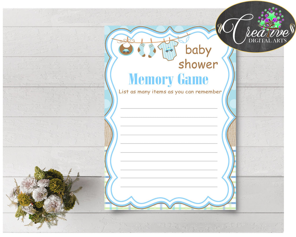 Baby Shower MEMORY game with boy clothes and blue color theme printable, digital file, instant download - bc001