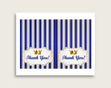 Blue Gold Thank You Cards Printable, Royal Prince Baby Shower Thank You Notes, Boy Shower Thank You Folded, Instant Download, rp001