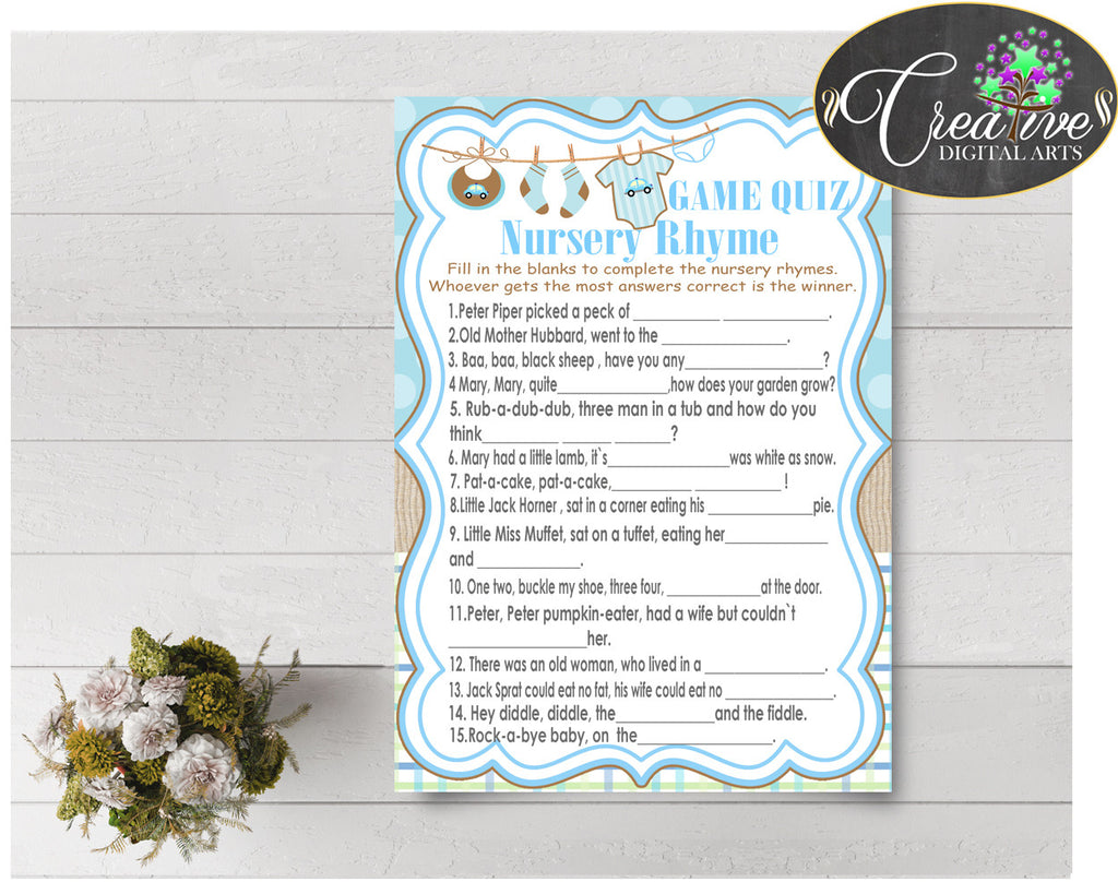 Baby Shower NURSERY RHYME QUIZ game with boy clothes and blue color theme printable, digital files, instant download - bc001