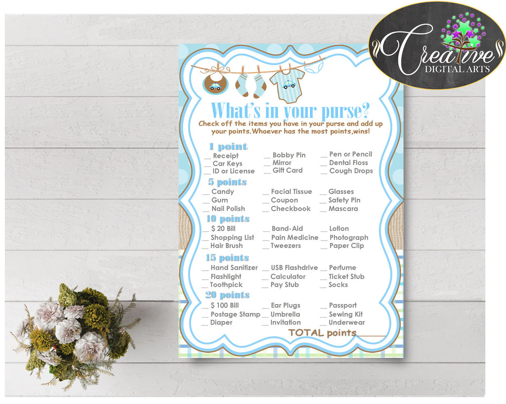 WHAT'S In YOUR PURSE baby shower game with boy clothes and blue color theme printable, digital Jpg Pdf, instant download - bc001