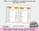 CANDY BAR baby shower game with green alligator and pink color theme, instant download - ap001