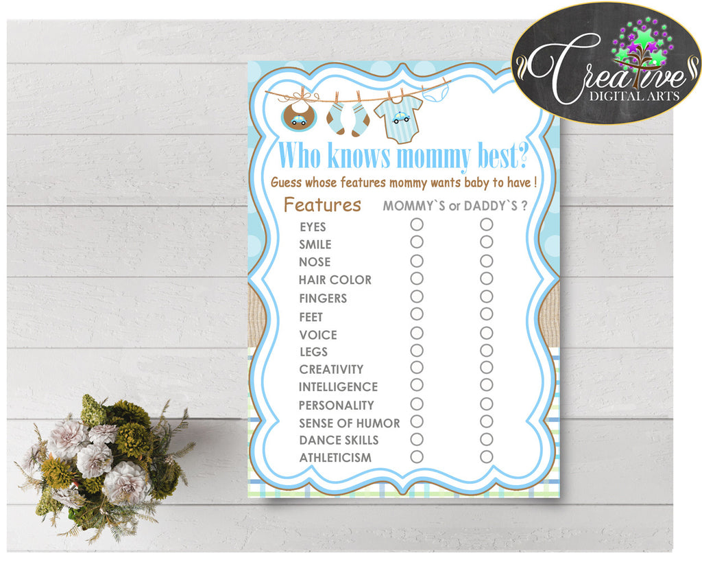 Who KNOWS MOMMY BEST baby shower game with boy clothes and blue color theme printable, instant download - bc001
