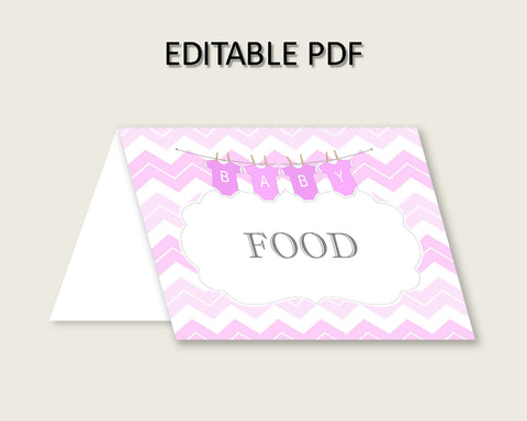 Chevron Folded Food Tent Cards Printable, Pink White Editable Pdf Buffet Labels, Girl Baby Shower Food Place Cards, Instant Download, cp001