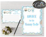 Advice For The Mommy To Be and Advice For The New Parents baby shower activities boy clothesline in blue color, instant download - bc001