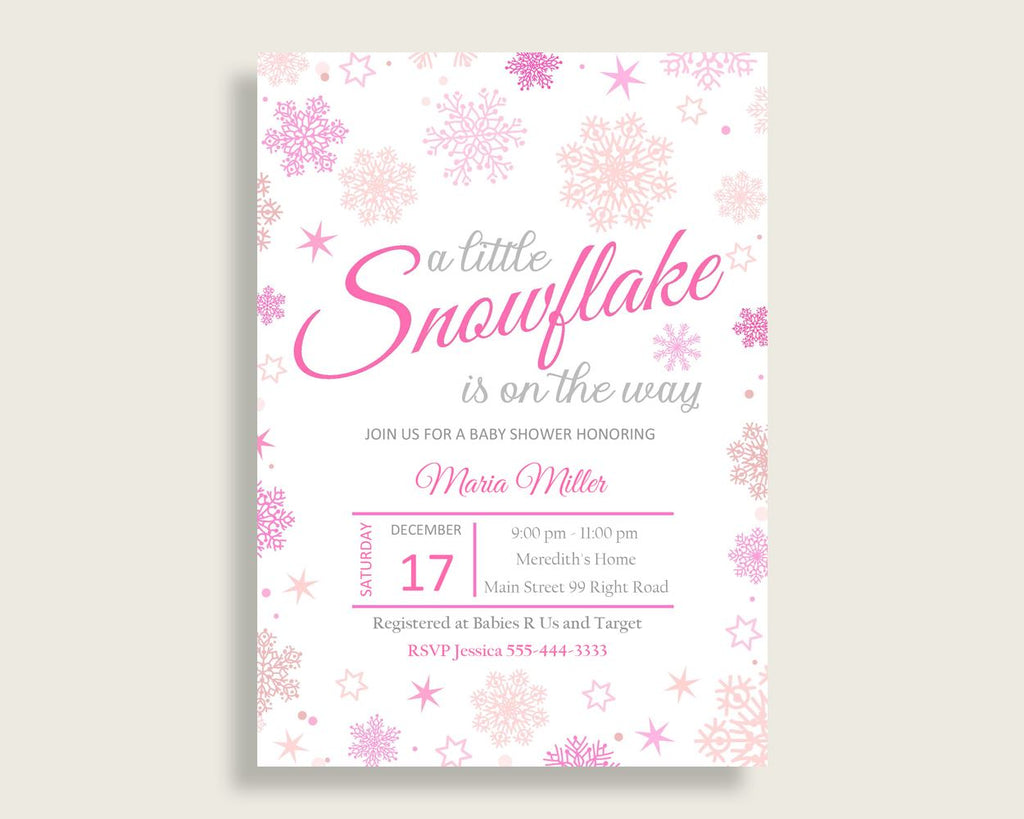 Invitation Baby Shower Invitation Winter Baby Shower Invitation Baby Shower Girl Invitation Pink White printable files party ideas 74RVX - Digital Product