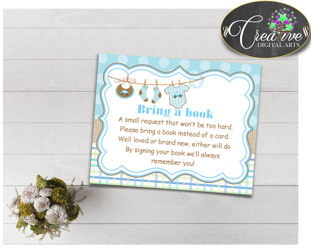 Baby shower BRING A BOOK insert cards printable for baby shower with baby boy clothesline and blue color theme, instant download - bc001