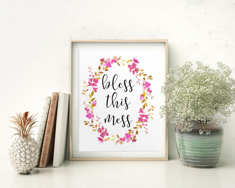Wall Art Bless This Mess Digital Print Bless This Mess Poster Art Bless This Mess Wall Art Print Bless This Mess Kitchen Art Bless This Mess - Digital Download