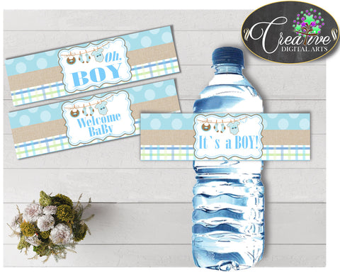 Baby shower WATER BOTTLE LABELS printable with boy clothesline and blue color theme, digital files Pdf Jpg, instant download - bc001