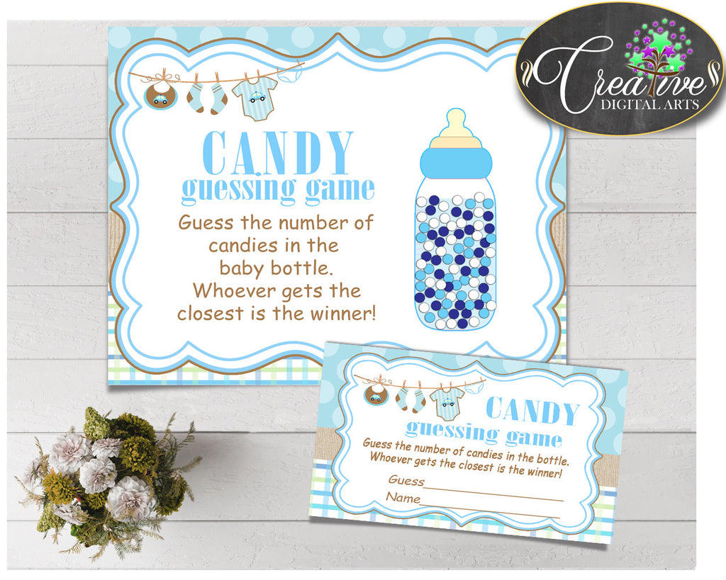 CANDY GUESSING GAME sign and tickets for baby shower with boy blue cloth and blue color theme printable, Jpg Pdf, instant download - bc001