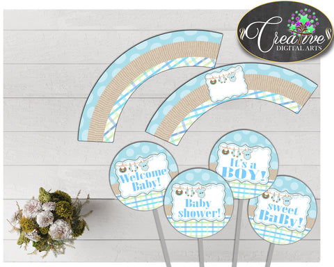 Baby shower CUPCAKE TOPPERS and cupcake WRAPPERS printable with boy blue cloth and blue color theme for boys, instant download - bc001