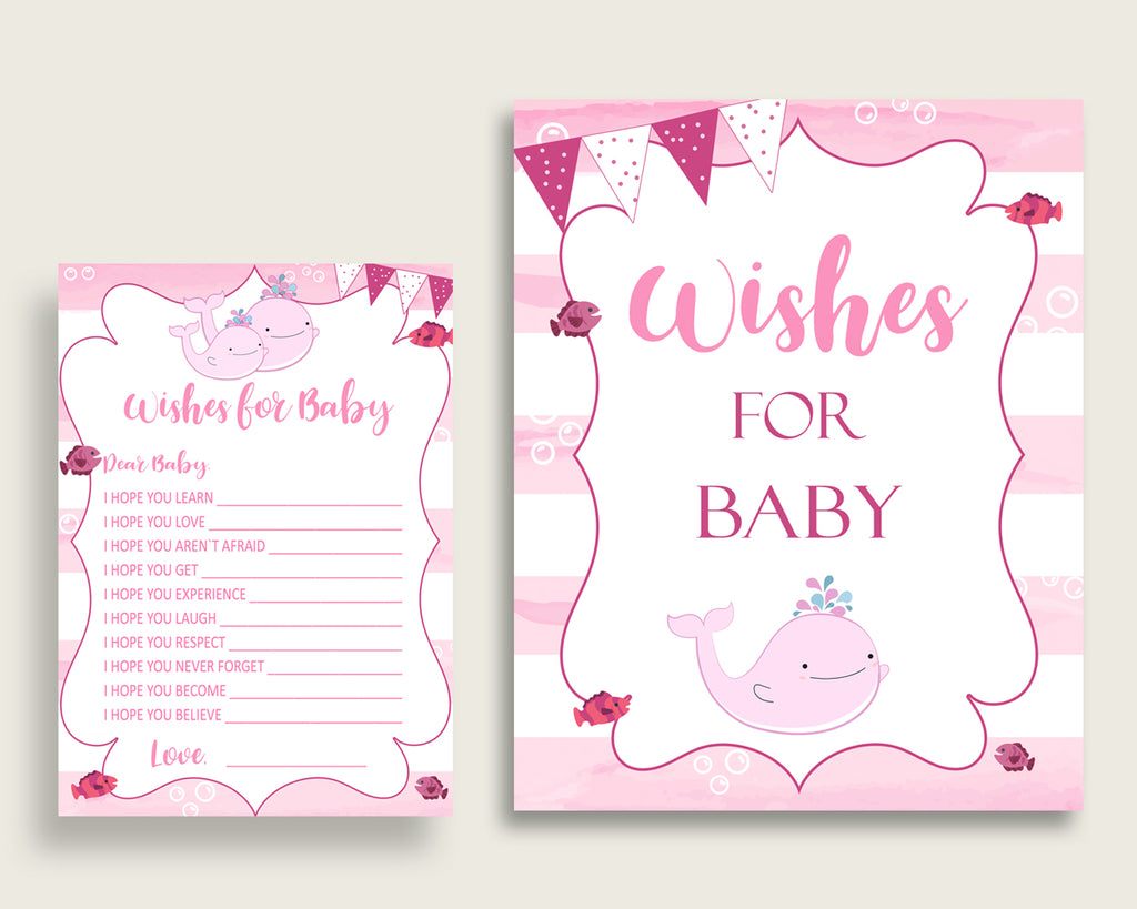 Pink White Wishes For Baby Cards & Sign, Pink Whale Baby Shower Girl Well Wishes Game Printable, Instant Download, Sea Animals wbl02