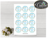 Baby shower THANK YOU round tag or sticker printable with boy clothes and blue color theme for boys, digital, instant download - bc001
