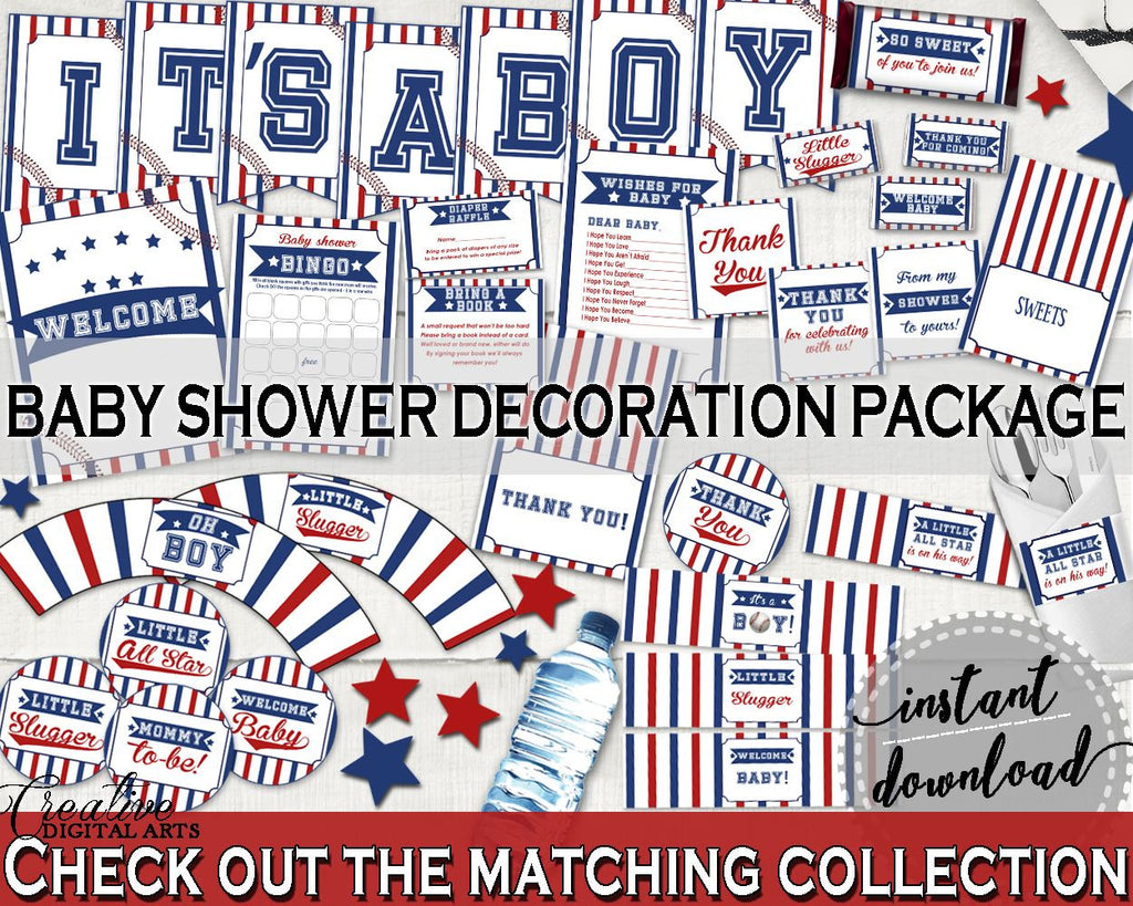Decorations Baby Shower Decorations Baseball Baby Shower Decorations Baby Shower Baseball Decorations Blue Red instant download YKN4H - Digital Product
