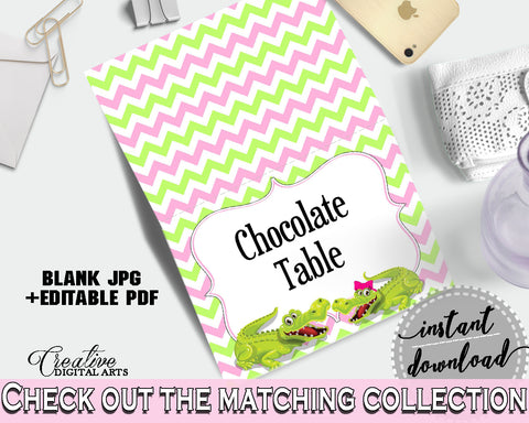 Baby shower PLACE CARDS or FOOD TENTS editable printable with green alligator and pink color theme for girl, instant download - ap001