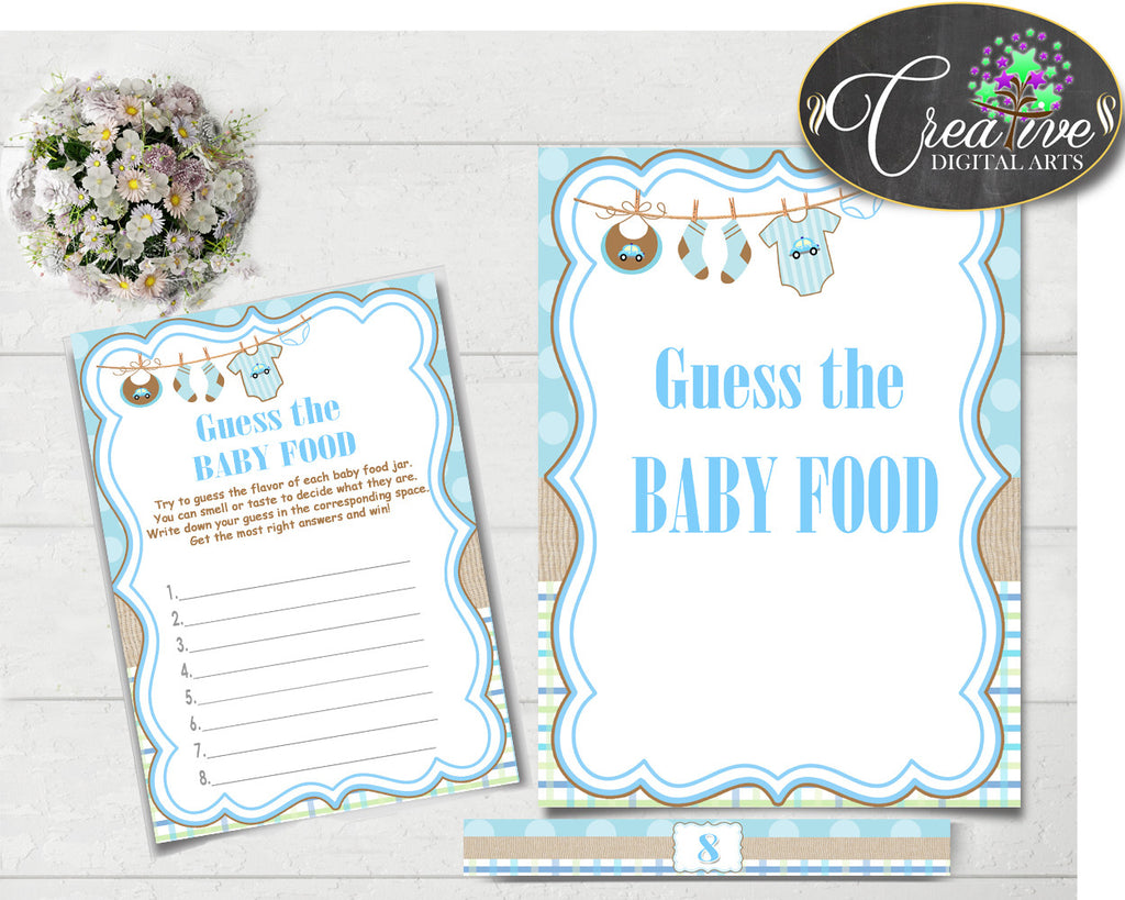 GUESS The BABY FOOD game for baby shower with boy clotheline and blue color theme printable, digital, Jpg Pdf, instant download - bc001