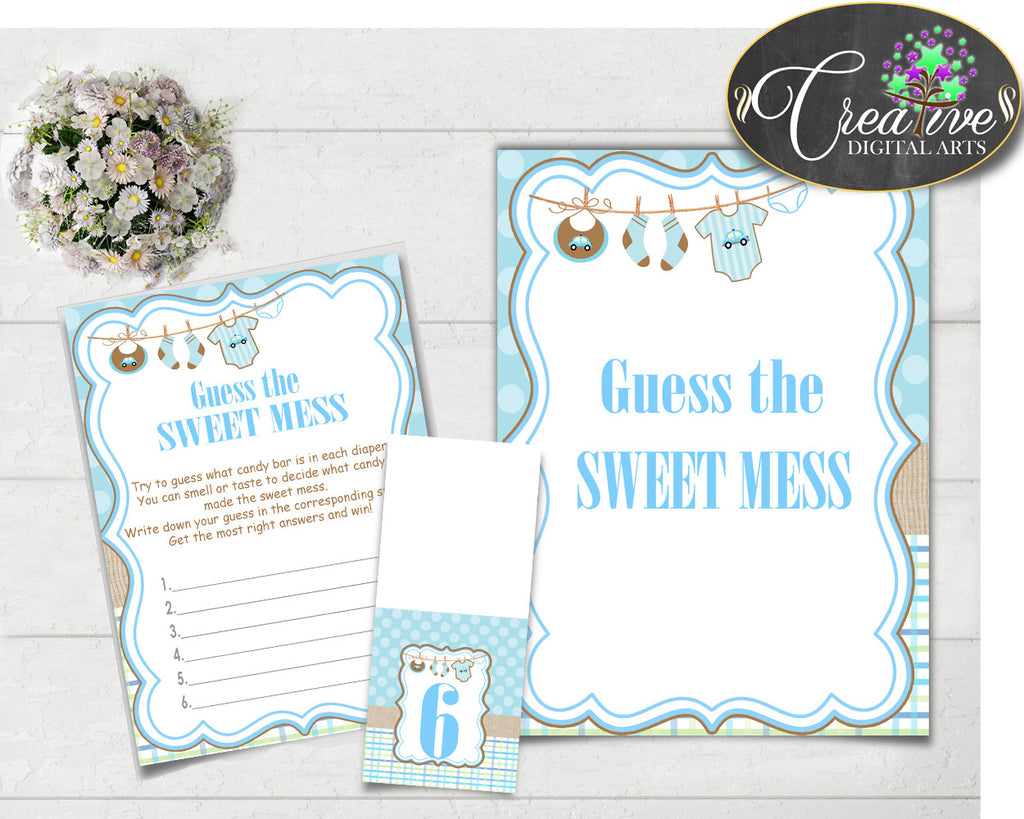 Baby shower GUESS the SWEET MESS game cards tents and sign with boy clothesline and blue color theme, Jpg Pdf, instant download - bc001