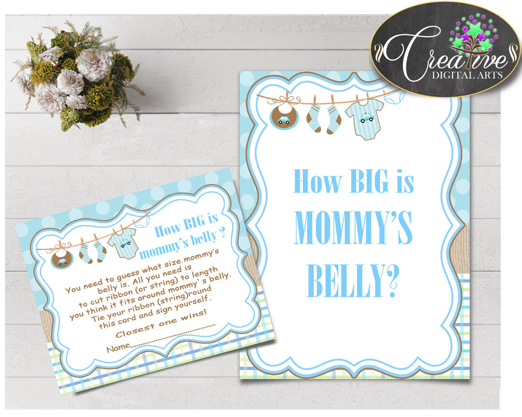 How Big Is MOMMY'S BELLY baby shower game with boy clothes and blue color theme printable, Jpg Pdf, instant download - bc001