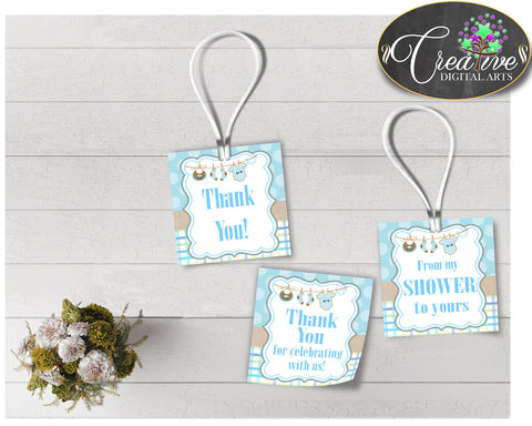 Baby shower THANK YOU favor tags square printable with blue clothes and blue color theme for boys, digital files, instant download - bc001