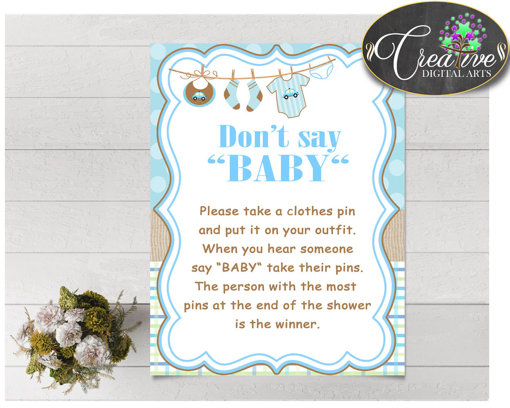 DON'T SAY BABY game for baby shower with boy cloth and blue color theme printable, digital files, Jpg Pdf, instant download - bc001