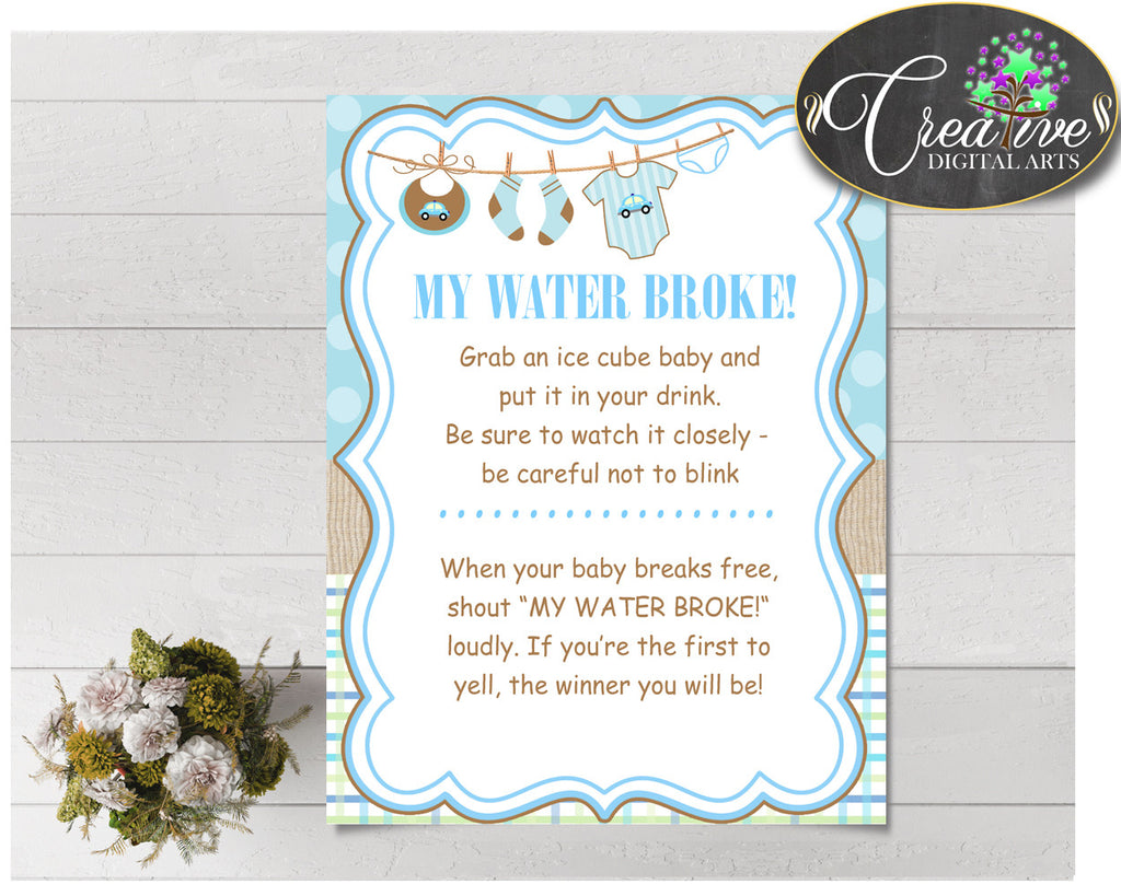 MY WATER BROKE baby shower game with boy clothes and blue color theme, instant download - bc001
