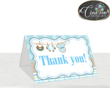 Baby shower THANK YOU card printable with boy clothesline and blue color theme for boys, digital jpg pdf, instant download - bc001