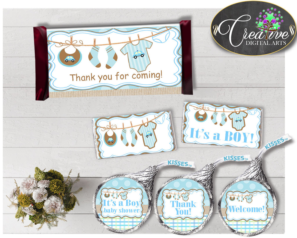 Baby shower CANDY BAR decoration wrappers and labels printable with boy clotheline and blue color theme for boys, instant download - bc001