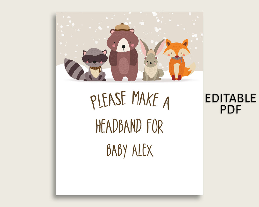 Winter Woodland Baby Shower Headband Sign, Beige Brown Headband Station Sign Editable, Gender Neutral Shower Headband For Baby RM4SN