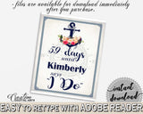 Days Until I Do in Nautical Anchor Flowers Bridal Shower Navy Blue Theme, bridal countdown, bridal shower style, party stuff, prints - 87BSZ - Digital Product