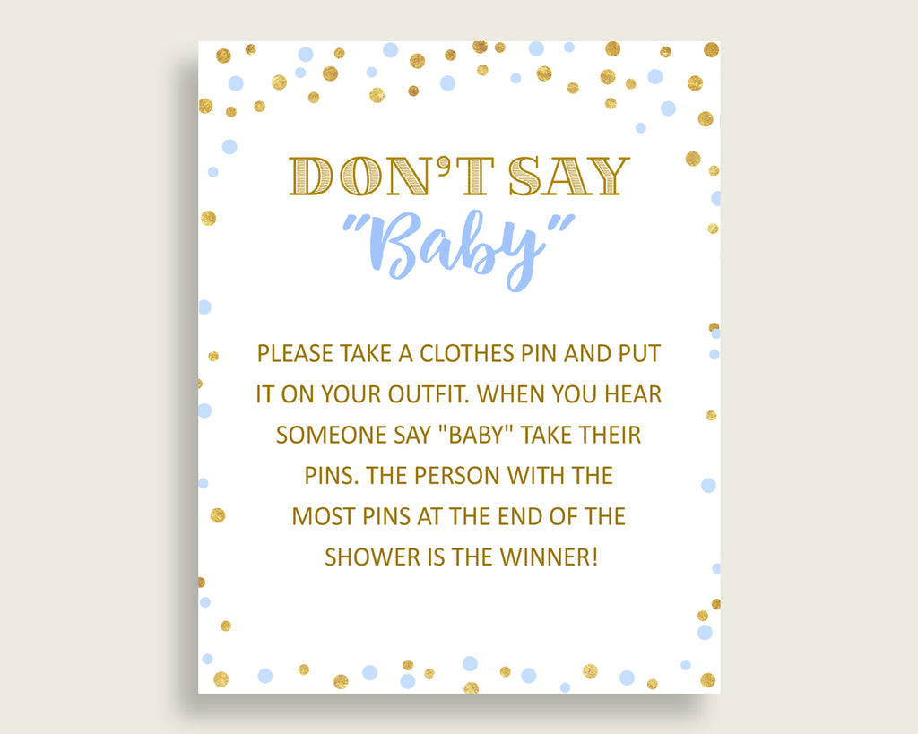 Dont Say Baby Baby Shower Dont Say Baby Confetti Baby Shower Dont Say Baby Blue Gold Baby Shower Confetti Dont Say Baby pdf jpg cb001