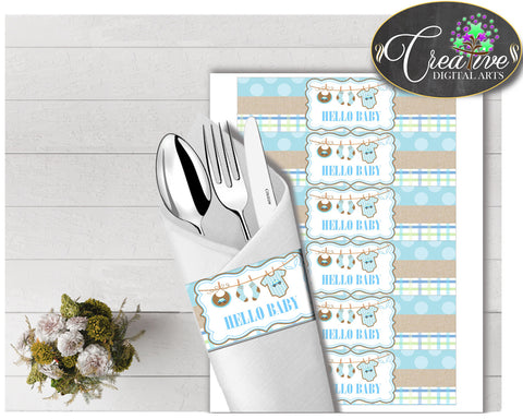 Baby shower NAPKIN RINGS printable with baby boy clothes and blue color theme, digital file, instant download - bc001